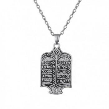 Fashion Tibetan Silvery Jewish Ethnic Torah Scroll 10 Commandments Necklace Jewelry - CN188N7R9W9
