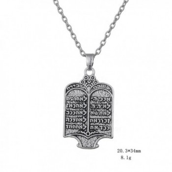Fashion Tibetan Silvery Commandments Necklace in Women's Pendants