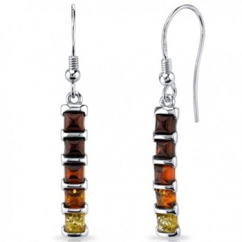 Five Stone Multi Color Baltic Amber Dangle Earrings Sterling Silver - CB11Y5N2Q9X