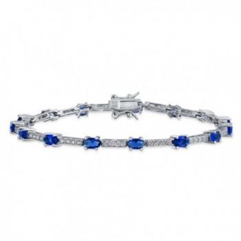 Bling Jewelry Vintage Style Simulated Sapphire CZ Tennis Bracelet Silver - CD11RWRCUUJ