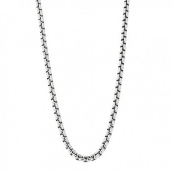 Unisex Solid Sterling Silver Rhodium Plated 2.5 mm Round Box Chain Necklace - CM11MCB3AWB
