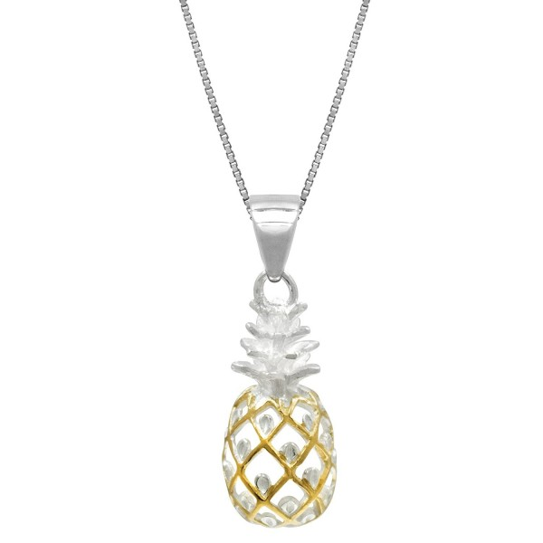 "Sterling Silver with 14k Gold Plated Trim Pineapple Necklace Pendant with 18"" Box Chain - CH11FSK2X59"