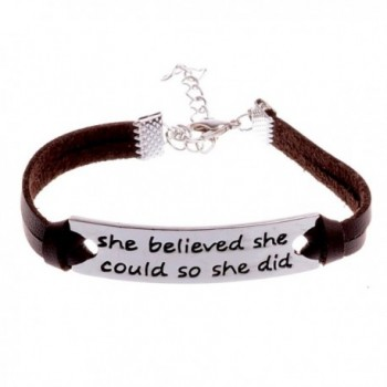 She Believed She Could So She Did Leather Bracelet For Women Girls - Inspirational Charm Bracelet - Brown - CX12O16VEYJ