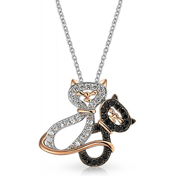Bling Jewelry CZ Loving Cats Pendant Rhodium Plated Necklace 18 Inches - C211PUT2AQJ