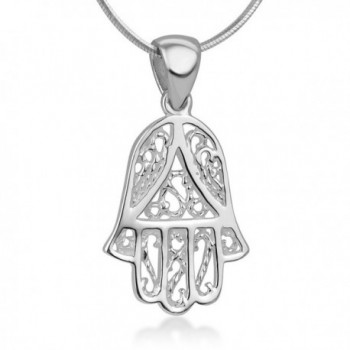 "925 Sterling Silver Open Filigree Hamsa Hand of Fatima Rope Design Amulet Pendant Necklace 18"" - CE12O442BW0"