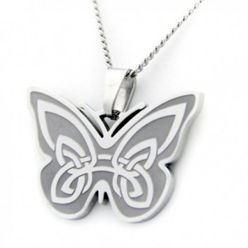 Celtic Butterfly Design With Irish Prayer Pendant Necklace - Butterfly Necklace - St Patricks Day Gifts - CC11554MSHB