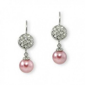 Formal Pink Faux Pearl and Silver Earring - Bridesmaid Jewelry (Pink) - CL11IHH70NZ