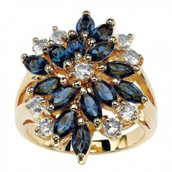 18K Gold-plated Marquise Cut Blue Floral Ring Made with Swarovski Elements - C9182AGYUH2
