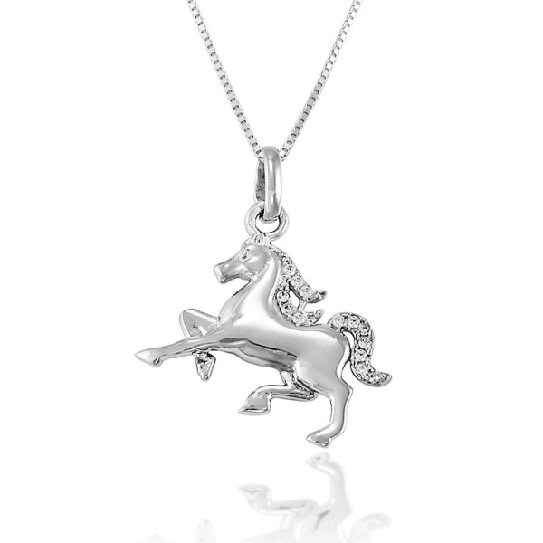 925 Sterling Silver Sparkling Cubic Zirconia CZ Running Horse Pendant Necklace- 18 inches - CM11W4L45TH