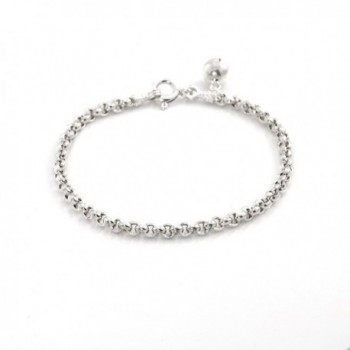 Silverly Womens .925 Sterling Silver Rolo 4 mm Chain Link Bracelet- 17 cm - CR11OIYJ10V