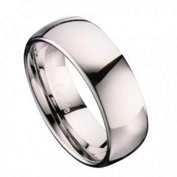 MJ 8mm Classic Polished Tungsten Carbide Mirror Finished Wedding Band Ring - CN11QN343UN