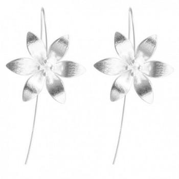 Lovely Flower Dangle Drop Wire Threader Hook Earrings 925 Sterling Silver Christmas Gift - CS12O3TG6ZJ