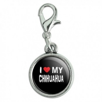 Antiqued Bracelet Pendant Zipper Pull Charm with Lobster Clasp I Love My Dog B-E - Chihuahua - CL12MAMH3XZ
