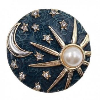 Enamel Pearl Bead Brooch Glitter Bird Leaf Festival Rhinestone Breastpin Gift 1 - Sun Moon - CS186W73M9L