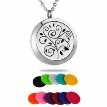 HooAMI Aromatherapy Essential Oil Diffuser Necklace - Stainless Steel Fragrance Locket Pendant - Silver - CV12IHNWKYR