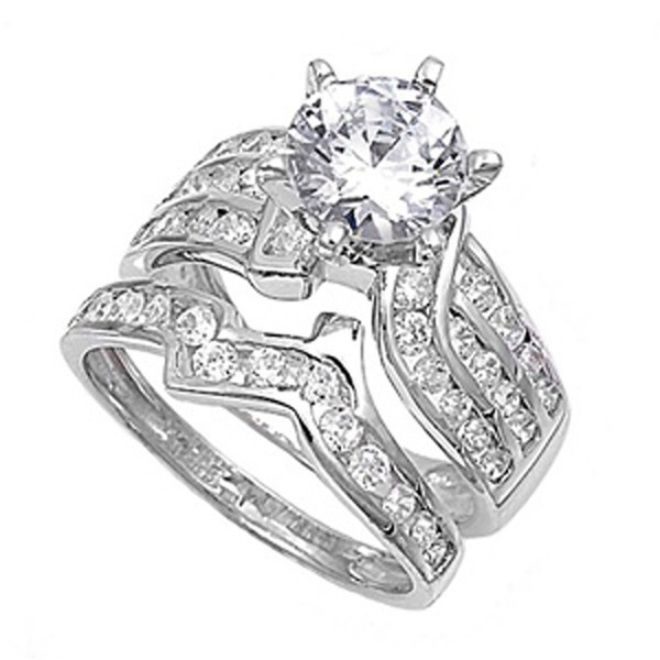Sterling Silver Designer Engagement Ring Wedding Band Bridal Set Sizes 4-12 - CR11GC18SJD