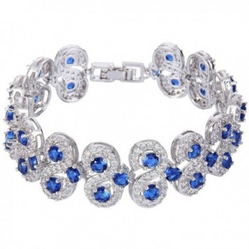 EVER FAITH Silver-Tone CZ Birthstone Vinstage Style Art Deco Roman Tennis Bracelet - Royal Blue - CL1299YJ4NN