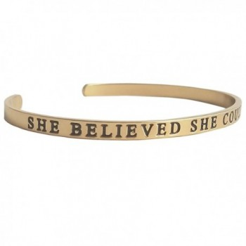 She Believed She Could So She Did - Inspiring Cuff Bracelet - CL12NZ09544