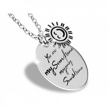 You Are My Sunshine My Only Sunshine Inspirational Quote Necklace Stainless Steel Charm Pendant for Women - CX128OZTOR9