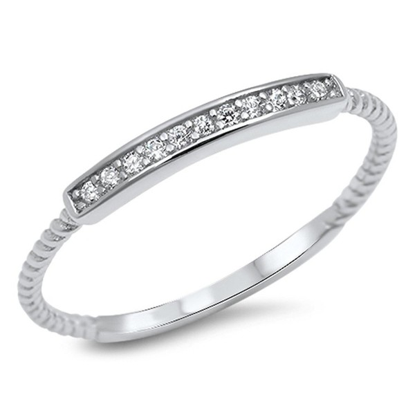 Clear CZ Bar Promise Ring New .925 Sterling Silver Thin Toe Band Sizes 2-10 - C212GTVNYA7