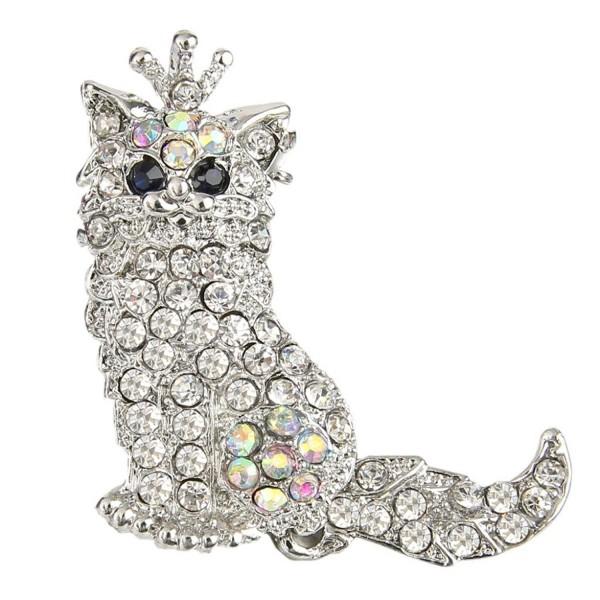 EVER FAITH Cute Crown Persian Cat Clear Austrian Crystal Brooch Pendant - CY11DK96BXP