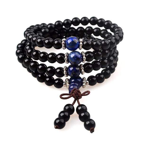 Mala Beads / Beaded Bracelet of Black Obsidian and Lapis Lazuli- for Meditation- Yoga & Chakra Healing - CM12NGYHYQ4