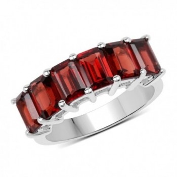Sterling Silver Octagon Cut Garnet Ladies Bridal Engagement Ring - CV12IKU46P3