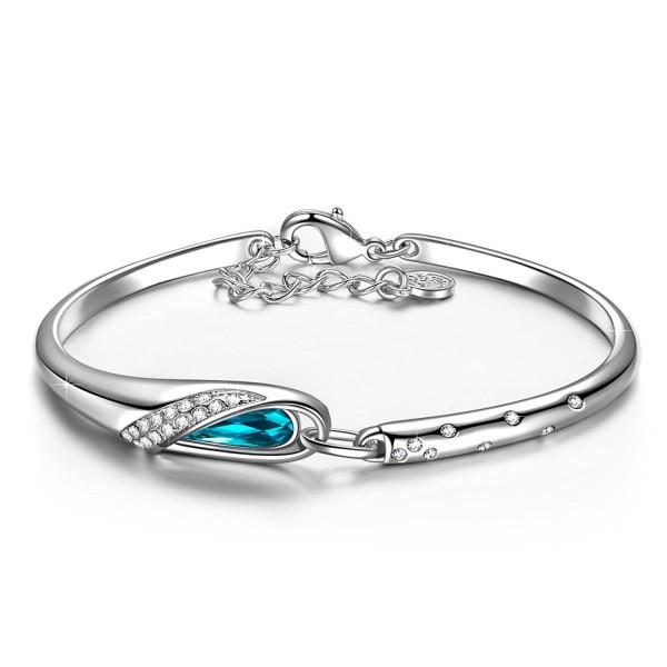 "QIANSE ""Glass Slipper"" White Gold Plated Bracelet 7""- Made with SWAROVSKI Crystal - Fairytale Design! - CJ11WUEXSHX"