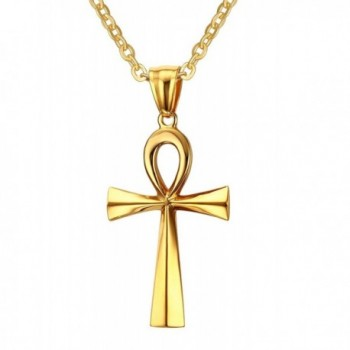 """XUANPAI Stainless Steel Egyptian Ankh Cross Pendant Necklace for Women-Free Chain 20"""" - CG185Y08EDS"""
