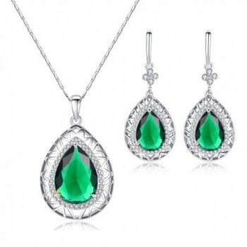 "Kemstone Silver Tone Emerald Cubic Zirconia Dangle Earrings Pendant Necklace Jewelry Set- 20"" - CT11YYRCLOP"