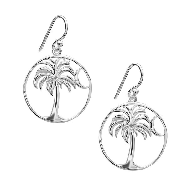 Tisoro Sterling Silver Palm Tree with Moon Drop Earrings - CM17YR6I9K2