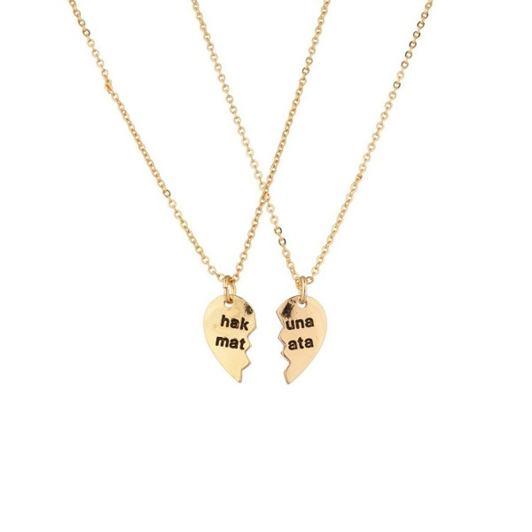 Lux Accessories Hakuna Matata It Means No Worries Detachable Broken Heart Necklace Set (2 Pc) - CD11WNVGOBF