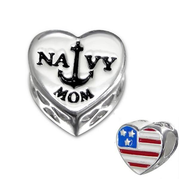 Sterling Silver Navy Mom Bead Charm- USA Flag Heart Bead for Charm Bracelet (E10311) - C511KO53IWZ