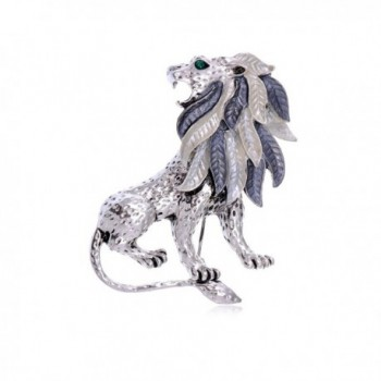 Alilang Silvery Tone Etched Grey Leaf Jungle Lion King Mane Brooch Pin - CA11I9A8637