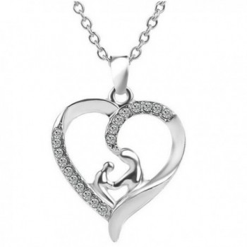 Mothers and Child Love Heart Shaped Crystal Pendant Necklace Mother's day Gift - CR12DNJ2GG7