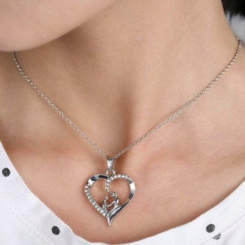 Mothers Shaped Crystal Pendant Necklace in Women's Y-Necklaces