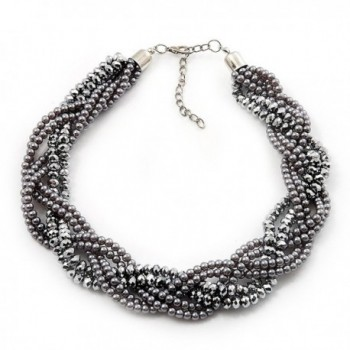 Luxurious Braided Light Grey Bead Choker Necklace In Silver Plating - 36cm Length/7cm Extension - CY115AW9LLD