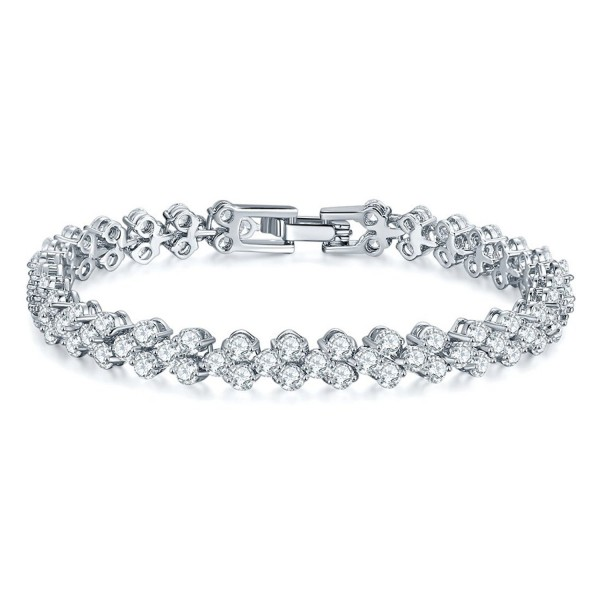 SILYHEART White Gold Plated Cubic Zirconia Tennis Bracelet- Fashion Jewelry Gifts for Teen Girls - White - CB17YUUO65D