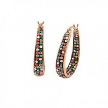Inside Out Hoop Earrings Womens Crystal -Rose Gold Color - C8120RYAF8V