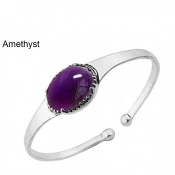 14.50ctw-15x20mm Oval Genuine & Created Gemstone & 925 Silver Plated Bangle - Amethyst - CG1867YAC39