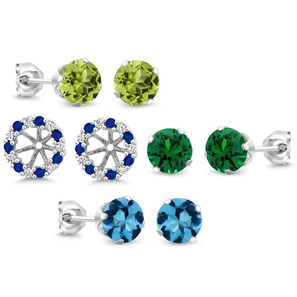 Gorgeous 6MM Stud Earrings Set With Matching 6MM Earring Jacket - CZ12DG512J5