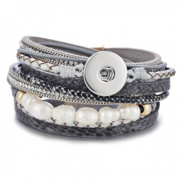 Leather Bracelet Vocheng Ginger Snap Jewelry Multilayer Magnetic 18mm Button 3 Colors NN-602 - Grey - CW17AZHSGA8