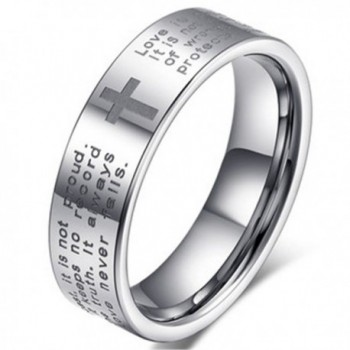Men Women 6mm Tungsten Carbide White Ring Engraved English Bible Verses About Love Cross Band For Her Him - CW12IPFHAUZ