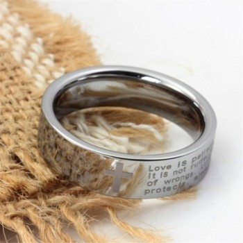 Tungsten Carbide Engraved English Verses in Women's Band Rings