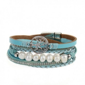 Jenia Leather Bracelet Pearl Wristband - rope wrap bracelet-blue - C918539Q969