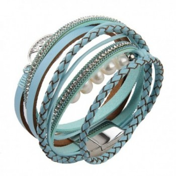 Jenia Leather Bracelet Pearl Wristband in Women's Charms & Charm Bracelets