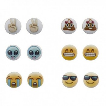 Lux Accessories Emoji Smiley Faces Alien Peace Sign Multi Earring Stud Set 6PC - C612LV66OCB