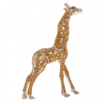 Alilang Golden Tone Yellow Animal Giraffe Spotted Texture Brooch Pin - CF113T2GLFV