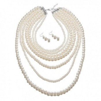 Yuhuan Fashion Jewelry Statement Necklace in Women's Pearl Strand Necklaces