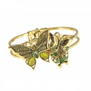 Green Butterfly Hinge Rhinestone Designer Bracelet by Jewelry Nexus - CZ11DKZAGX9